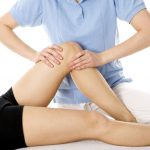 Osteopathy used to examine a knee